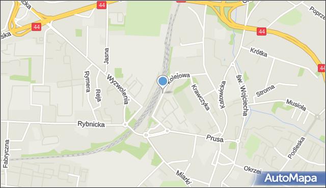 Mikołów, Kolejowa, mapa Mikołów