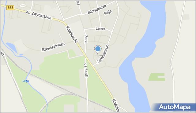 Olecko, Kochanowskiego Jana, mapa Olecko