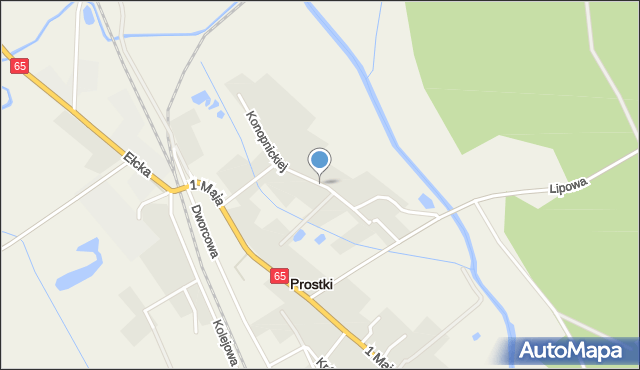 Prostki, Konopnickiej Marii, mapa Prostki