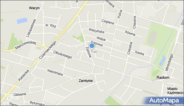 Radom, Kołodziejska, mapa Radomia