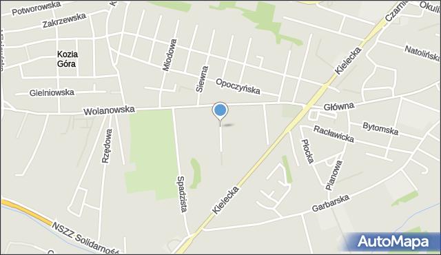 Radom, Korzeniowa, mapa Radomia