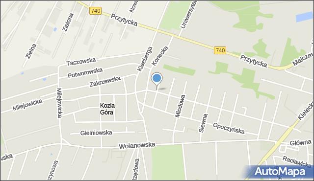 Radom, Kozia, mapa Radomia