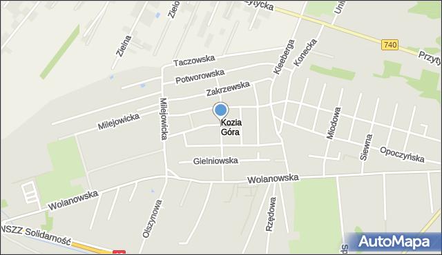 Radom, Koziegórska, mapa Radomia