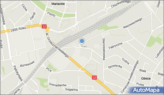 Radom, Kolejowa, mapa Radomia