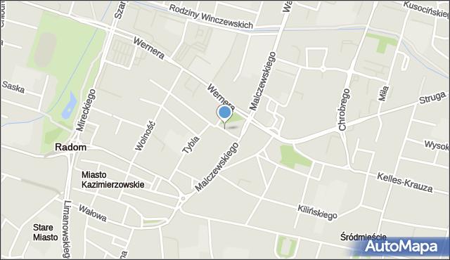 Radom, Koszarowa, mapa Radomia