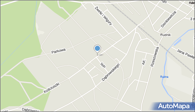 Rudnik nad Sanem, Kościuszki Tadeusza, gen., mapa Rudnik nad Sanem