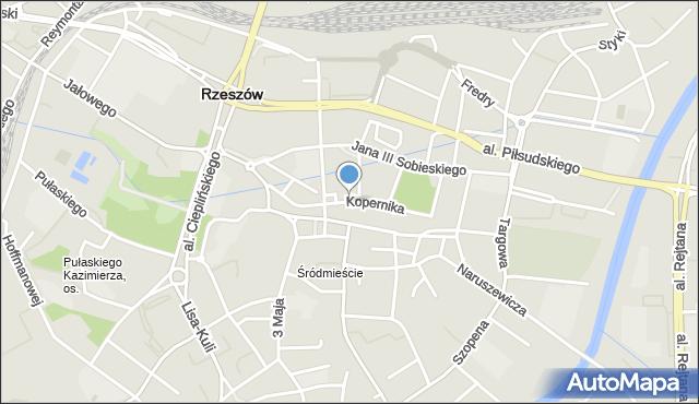 Rzeszów, Kopernika Mikołaja, mapa Rzeszów