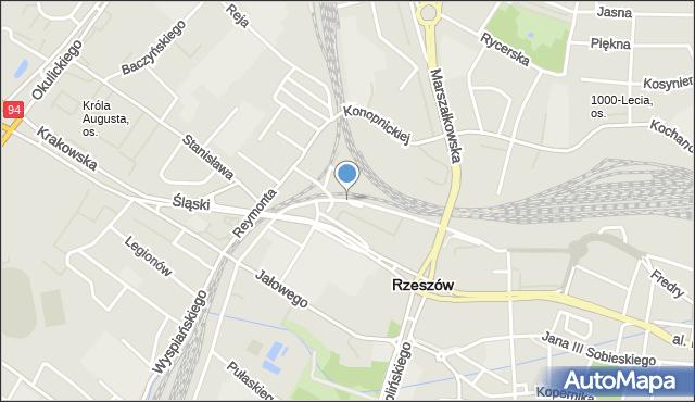 Rzeszów, Kordeckiego Augustyna, ks., mapa Rzeszów