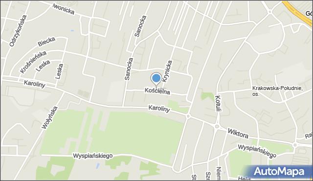 Rzeszów, Kościelna, mapa Rzeszów