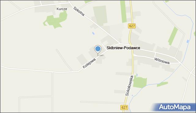 Skibniew-Podawce, Kolejowa, mapa Skibniew-Podawce