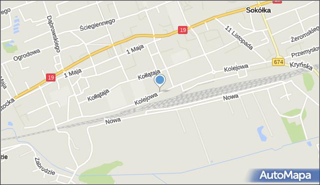 Sokółka, Kolejowa, mapa Sokółka