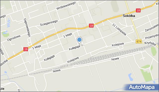 Sokółka, Kołłątaja Hugo, mapa Sokółka