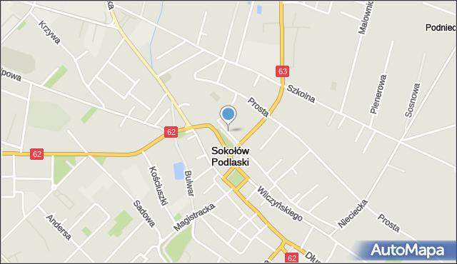 Sokołów Podlaski, Kościelna, mapa Sokołów Podlaski