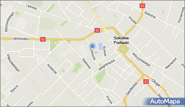 Sokołów Podlaski, Kościuszki Tadeusza, gen., mapa Sokołów Podlaski