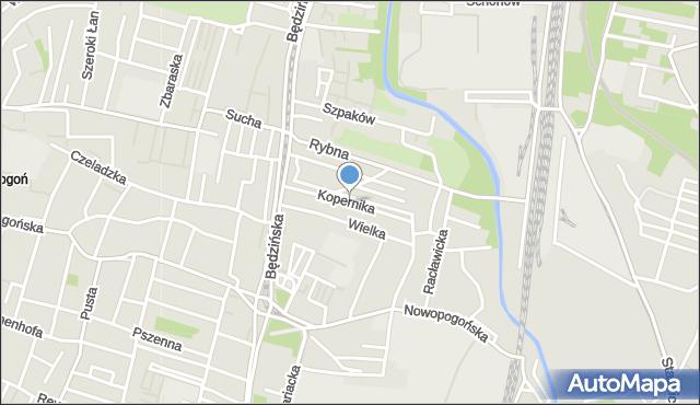 Sosnowiec, Kopernika Mikołaja, mapa Sosnowca