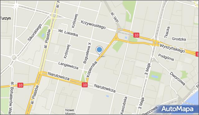 Szczecin, Kopernika Mikołaja, mapa Szczecina