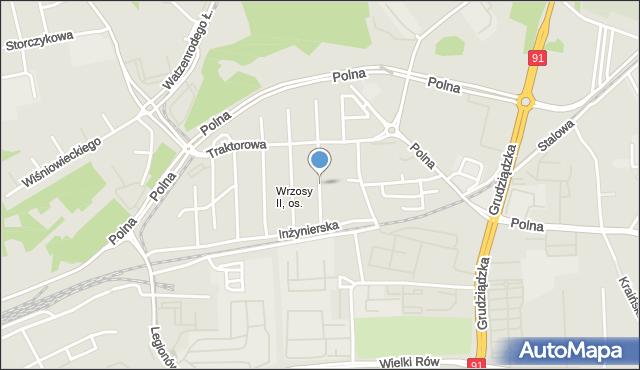Toruń, Kombajnowa, mapa Torunia