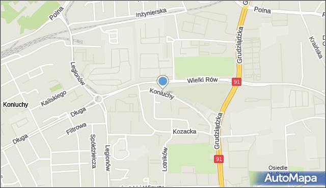 Toruń, Koniuchy, mapa Torunia