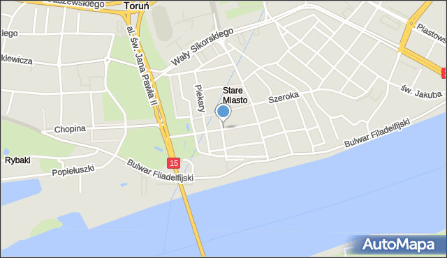 Toruń, Kopernika Mikołaja, mapa Torunia