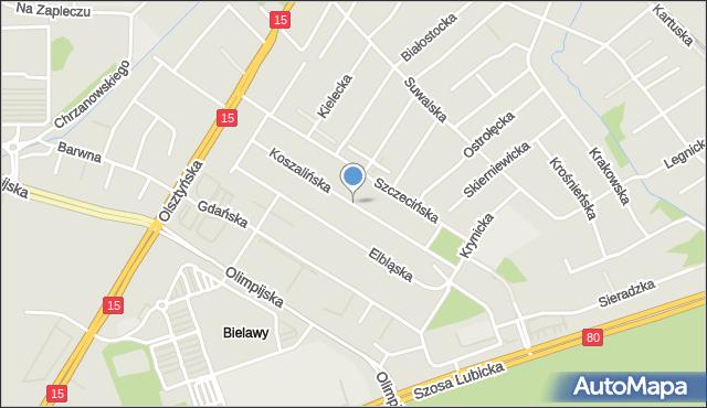 Toruń, Koszalińska, mapa Torunia