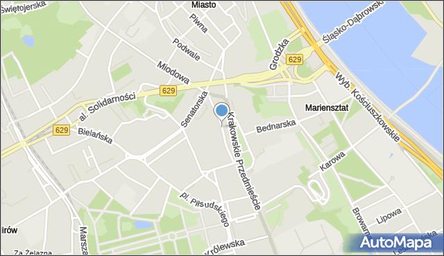 Warszawa, Kozia, mapa Warszawy