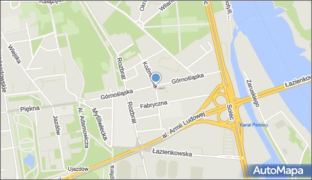 Warszawa, Koźmińska, mapa Warszawy