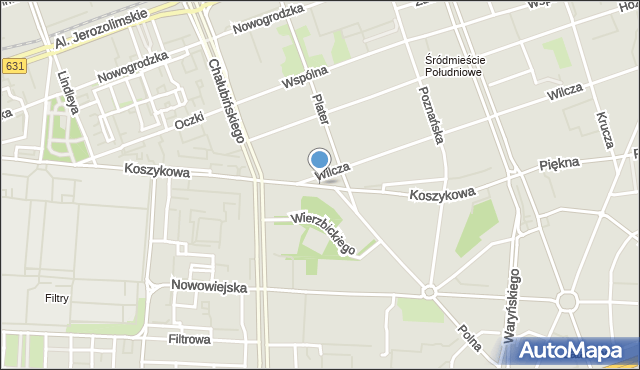 Warszawa, Koszykowa, mapa Warszawy