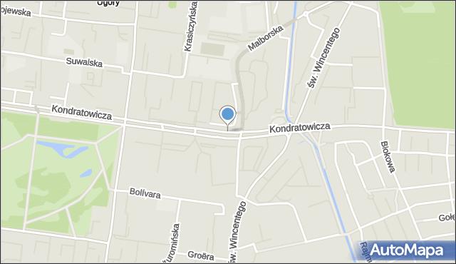 Warszawa, Kondratowicza Ludwika, mapa Warszawy