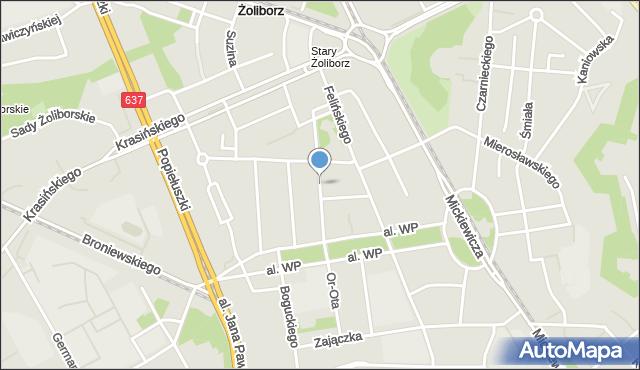 Warszawa, Kozietulskiego Jana Leona, płk., mapa Warszawy