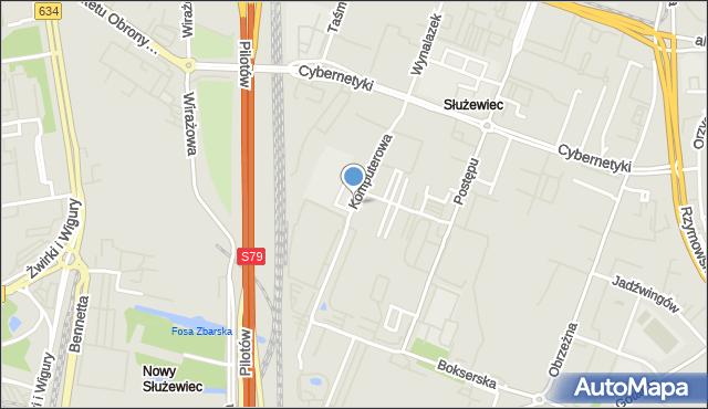 Warszawa, Komputerowa, mapa Warszawy