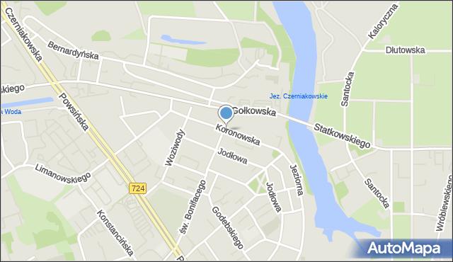 Warszawa, Koronowska, mapa Warszawy