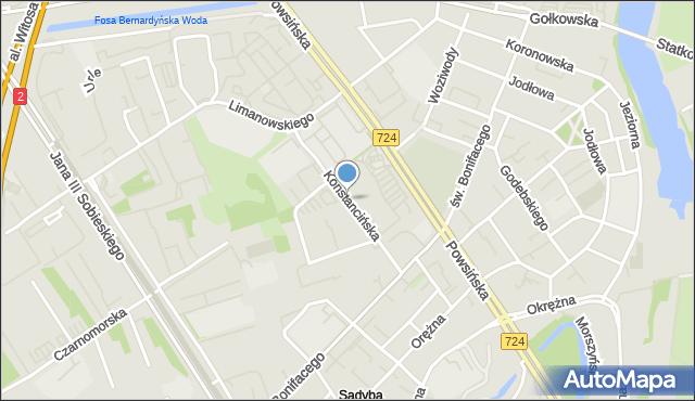 Warszawa, Konstancińska, mapa Warszawy