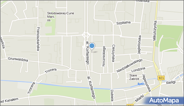 Zabrze, Kochanowskiego Jana, mapa Zabrza