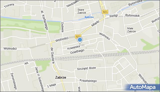 Zabrze, Kowalska, mapa Zabrza
