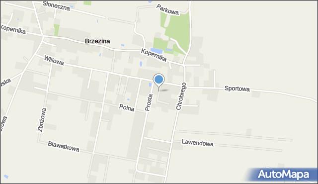 Brzezina gmina Miękinia, Kręta, mapa Brzezina gmina Miękinia