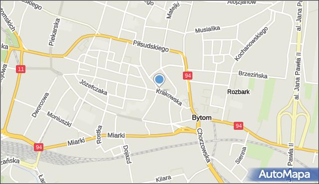 Bytom, Krakowska, mapa Bytomia