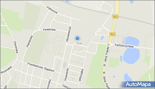 Bytom, Kruszcowa, mapa Bytomia