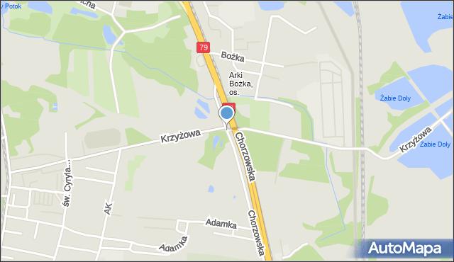 Bytom, Krzyżowa, mapa Bytomia