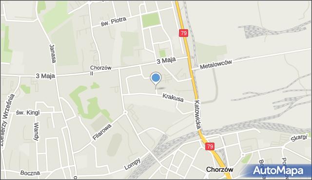 Chorzów, Krakusa, mapa Chorzów