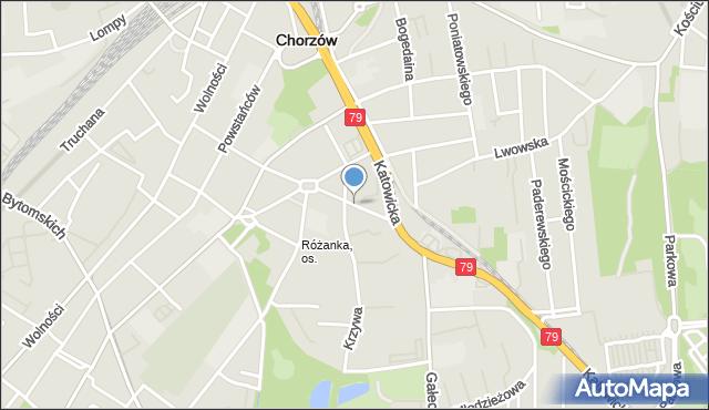 Chorzów, Krasickiego Ignacego, bp., mapa Chorzów