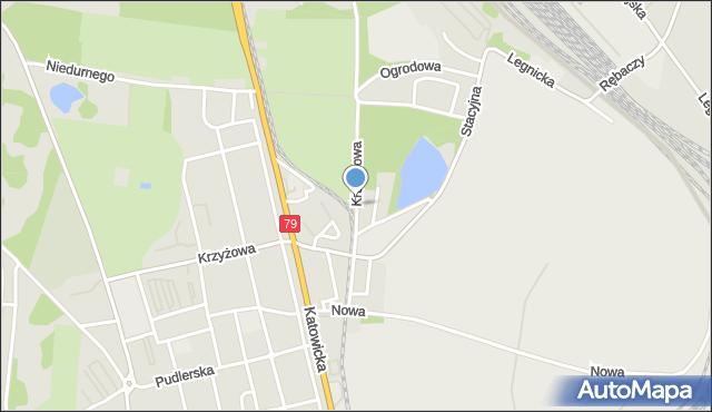 Chorzów, Kruszcowa, mapa Chorzów
