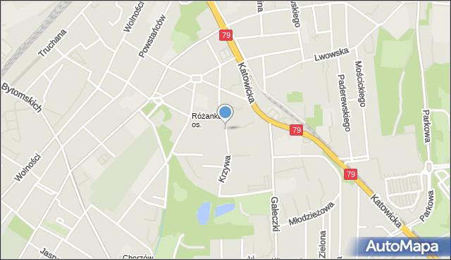 Chorzów, Krzywa, mapa Chorzów