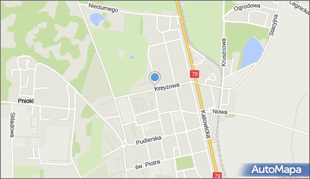 Chorzów, Krzyżowa, mapa Chorzów