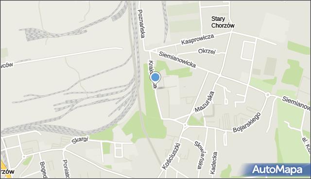 Chorzów, Krakowska, mapa Chorzów