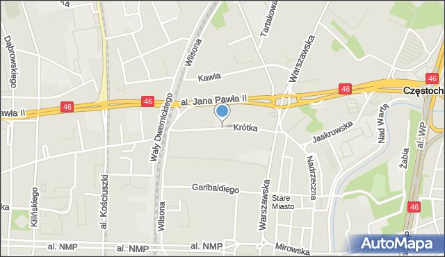 Częstochowa, Krótka, mapa Częstochowy