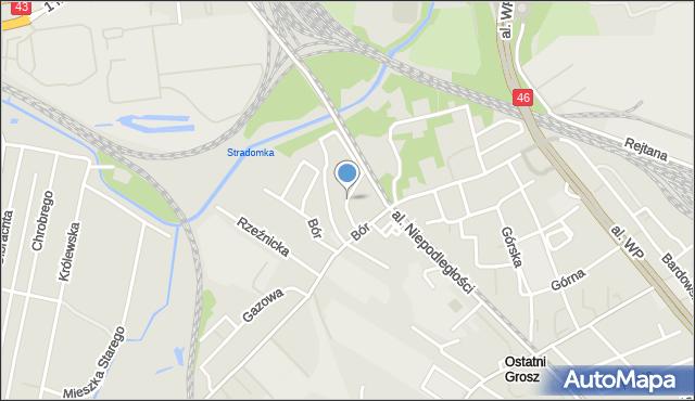 Częstochowa, Kręta, mapa Częstochowy