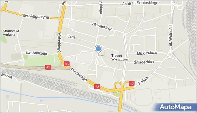 Częstochowa, Krasińskiego, mapa Częstochowy