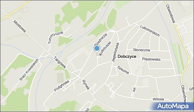 Dobczyce, Królowej Kingi, mapa Dobczyce