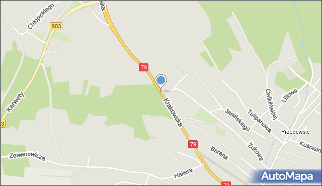 Jaworzno, Krakowska, mapa Jaworzno