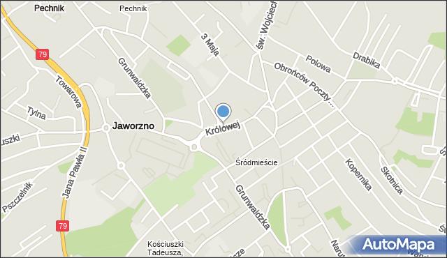 Jaworzno, Królowej Jadwigi, mapa Jaworzno